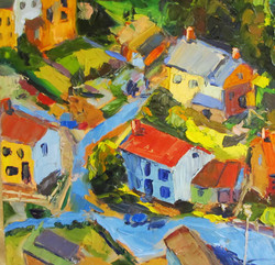 Roofs 20 x 20 Oil on stretched canvas