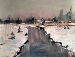 Pink winter sky 12 x 16 Oil on canvas pa