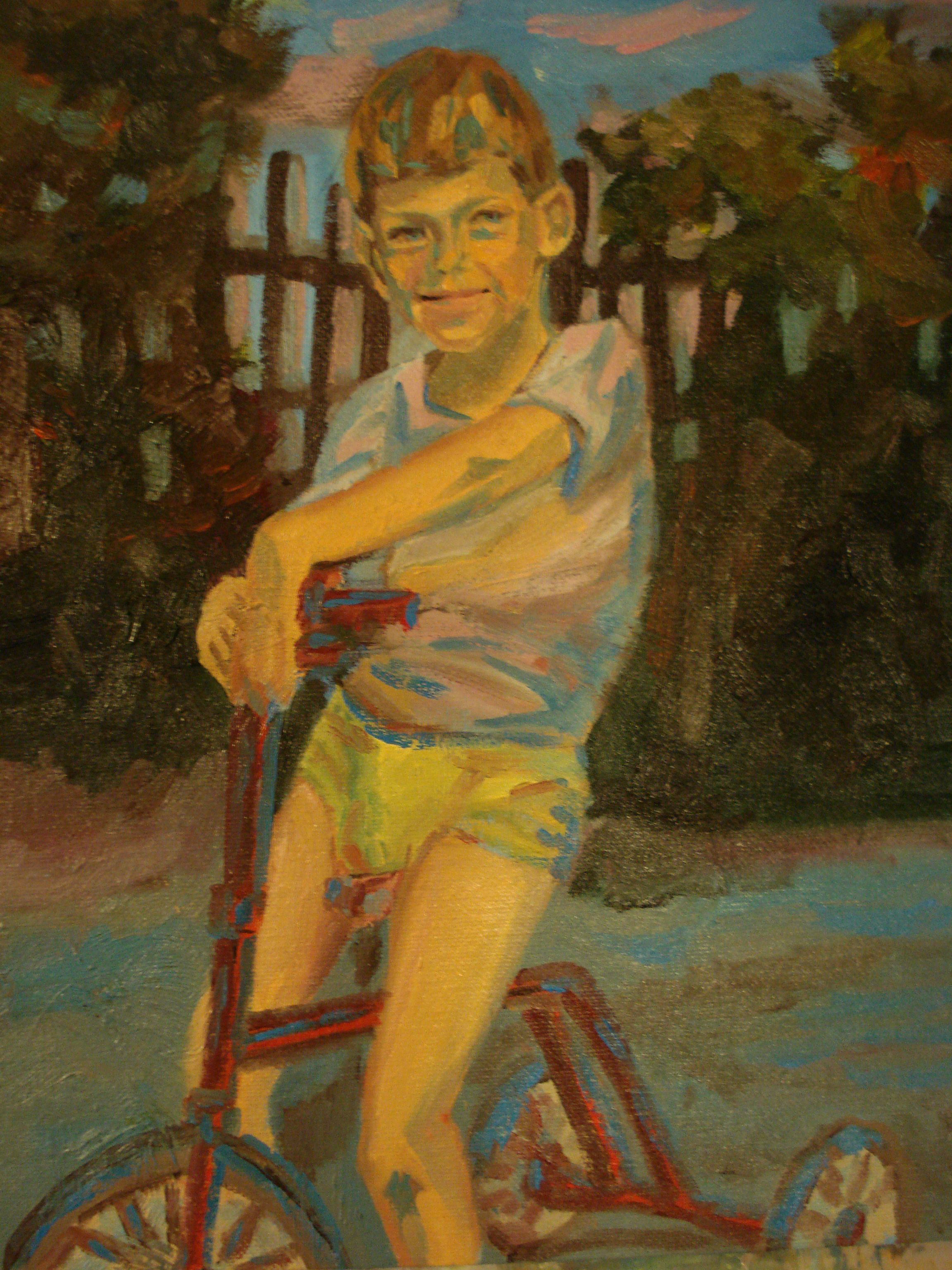 Boy and his tricycle