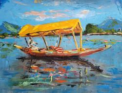 The lone shikara 16x20 oil on canvas