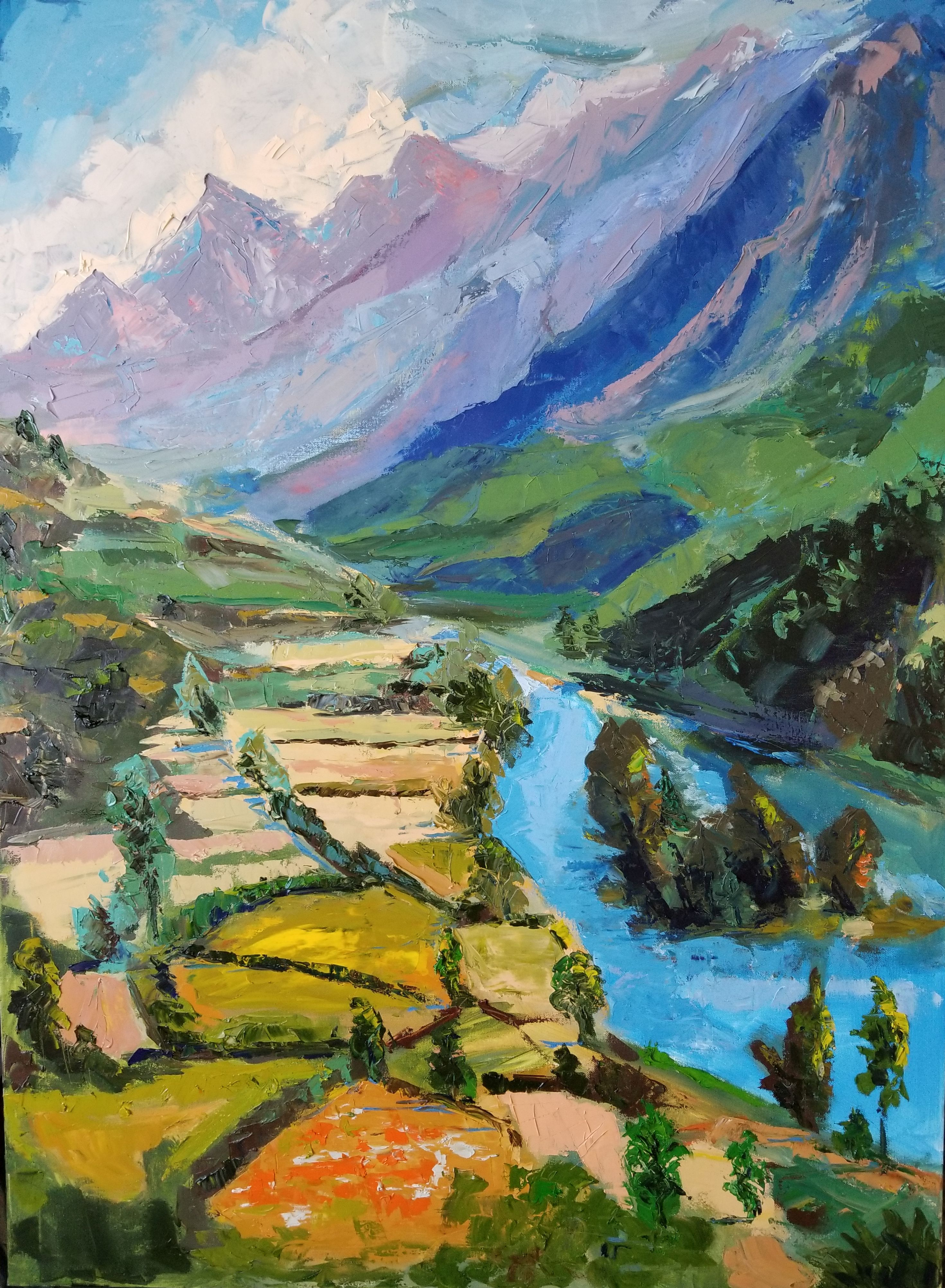 """The Bounty of Lidder, Kashmir; 48"""" x 36"""""""