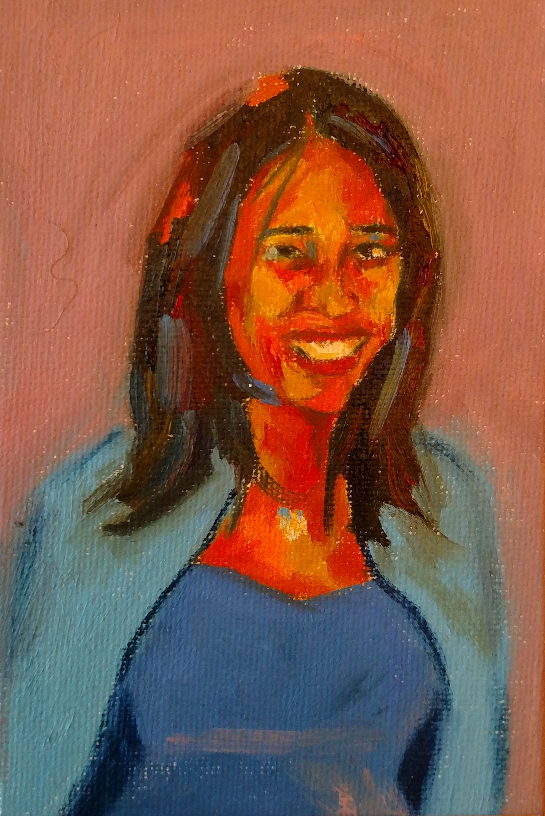 The girl with the shy smile 7 x 5 Oil on
