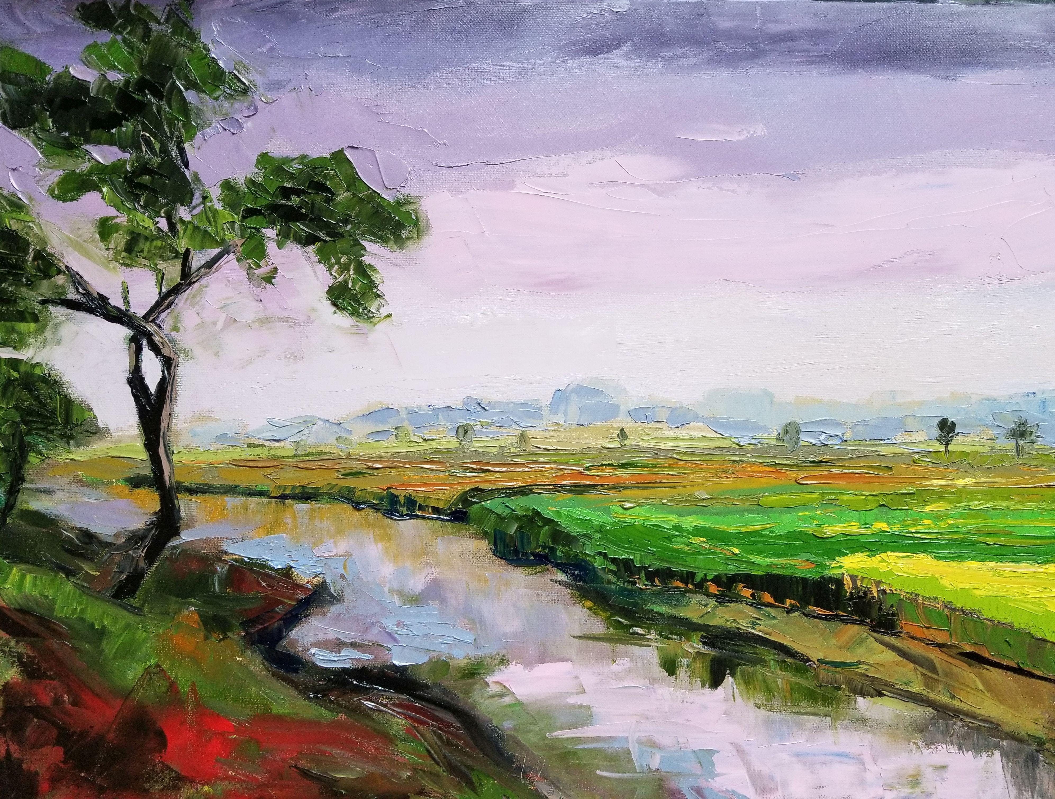 Rivulet by the fields 18x24 Oil on canva