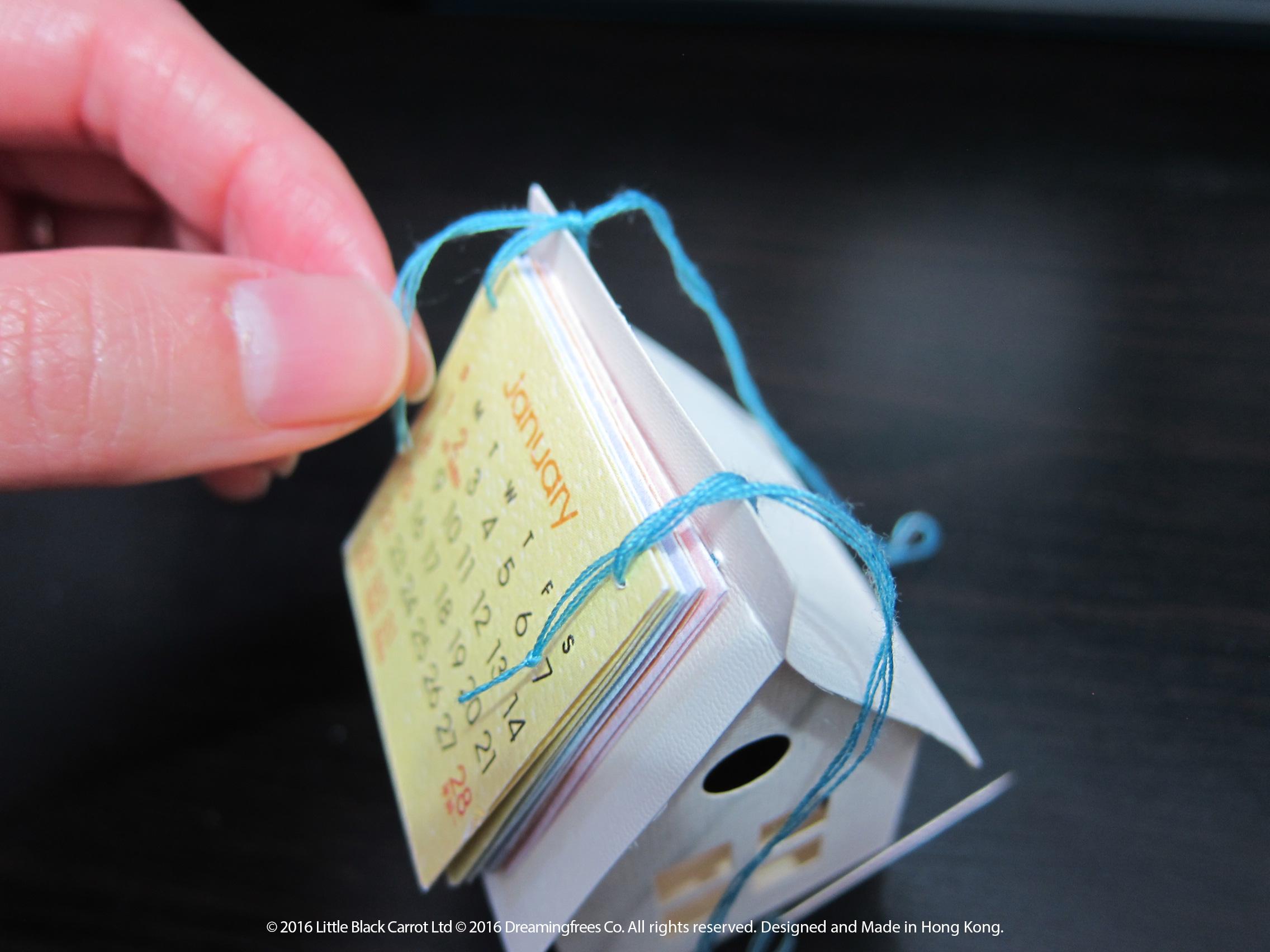 13:打結時圓圈不要索得太緊,因為太緊揭月曆卡時變得困難