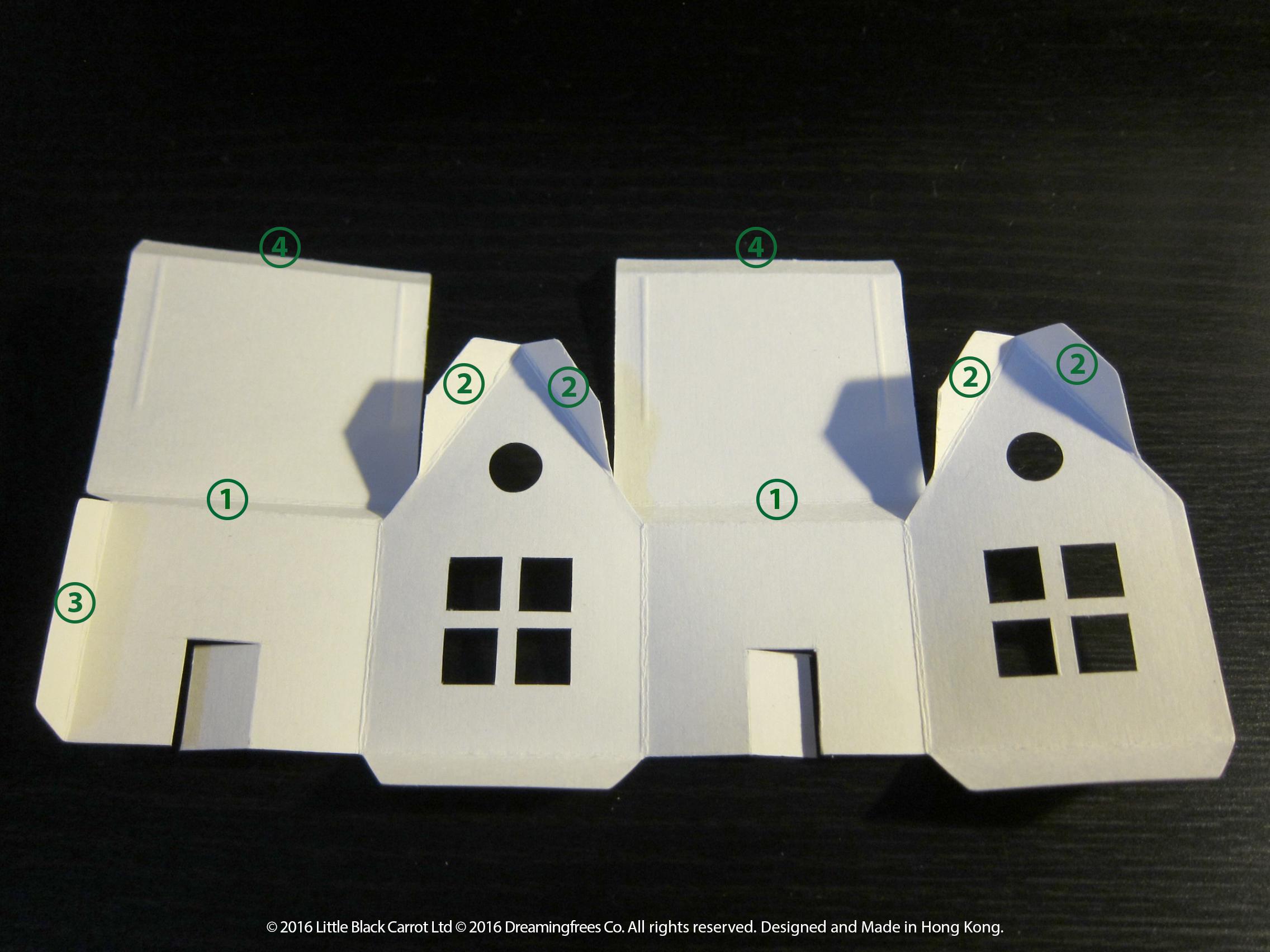 04:把所有摺位全部摺一下,順序黏貼標示位置
