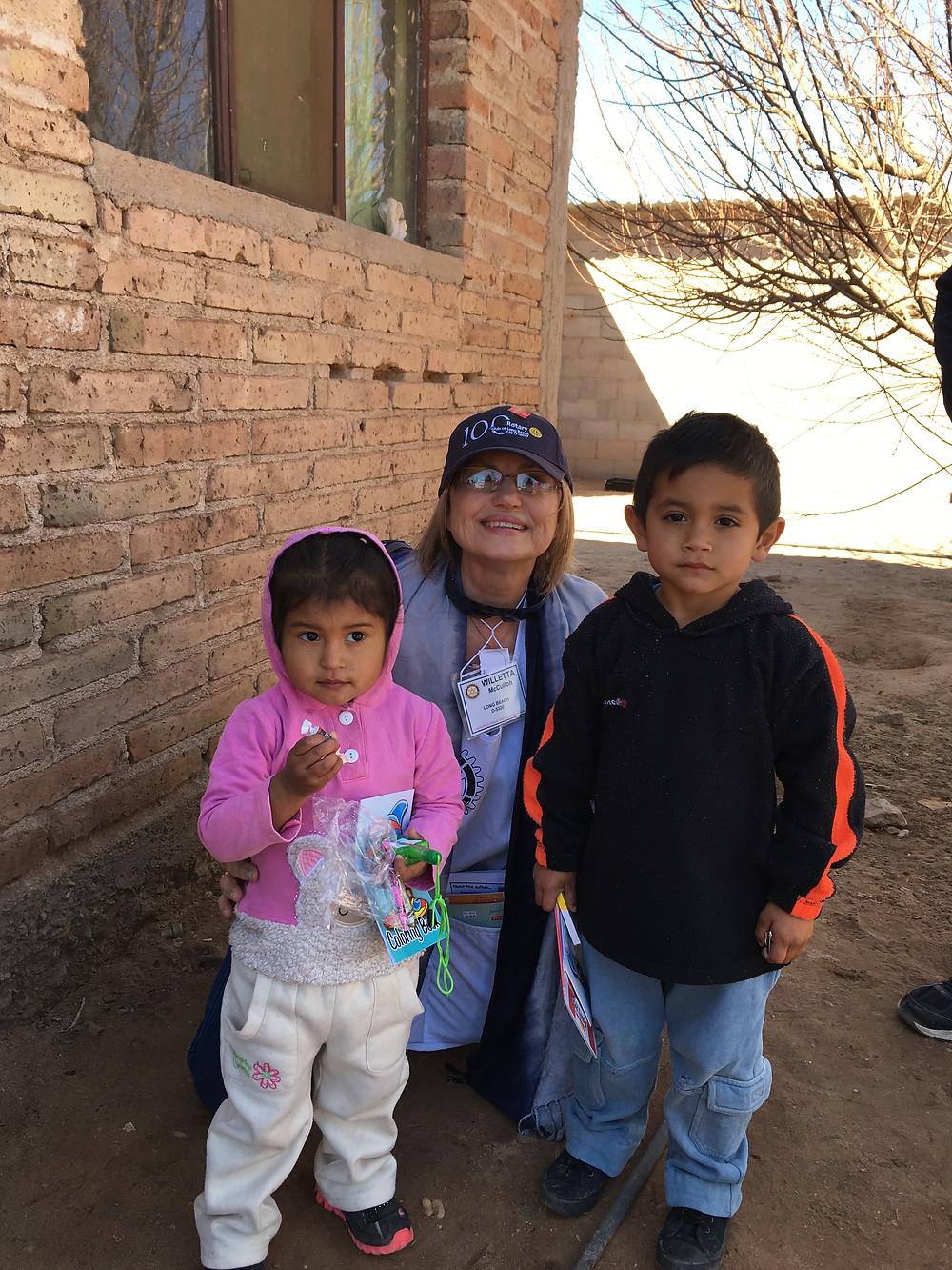 Environ's Willetta McCulloh donates time in Caborca, Mexico administering vaccines.