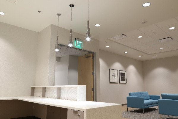 Reception and lounge at Heluna Health.