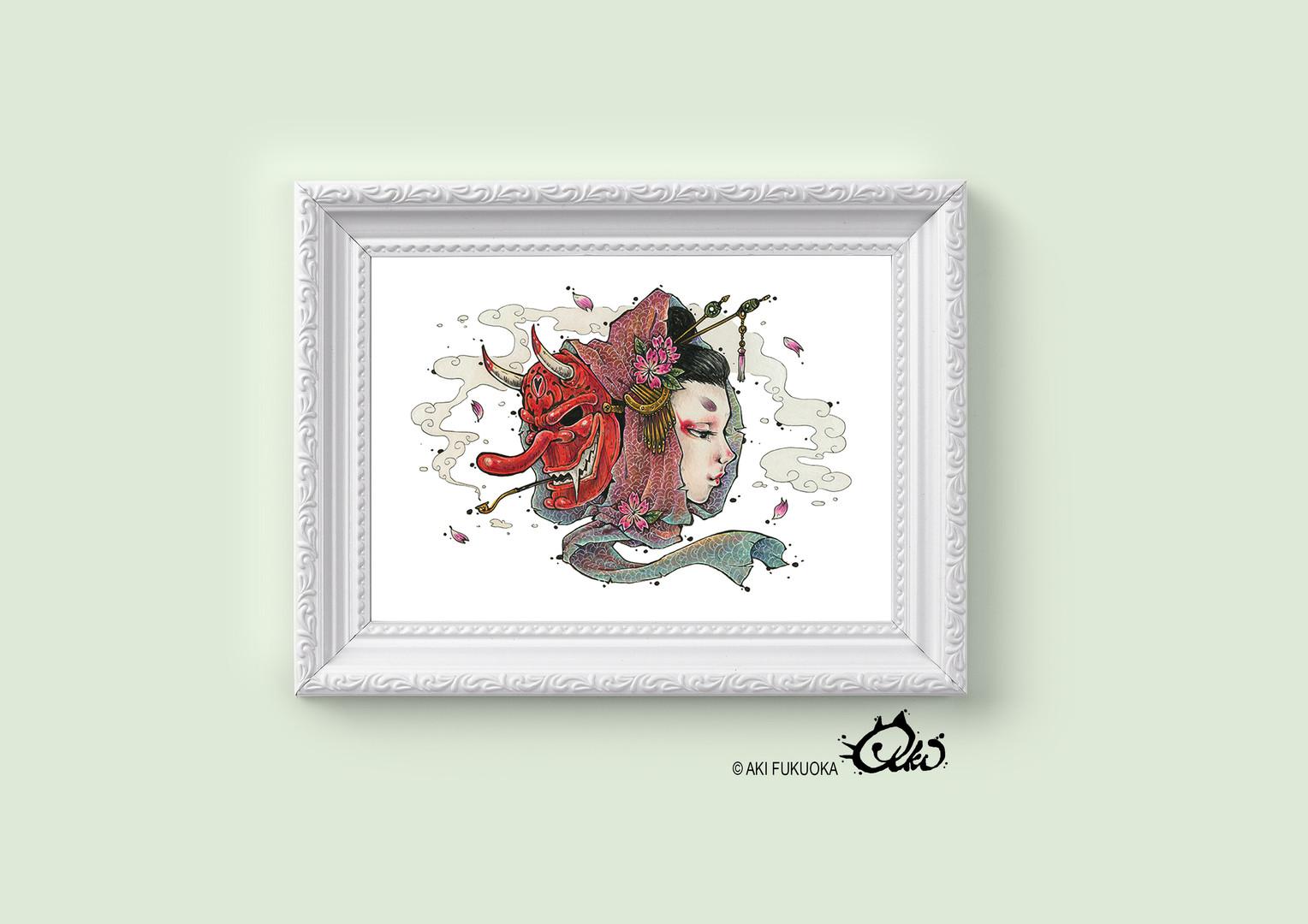 Tengu Geisha Art Print