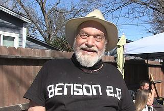 Older man with a Benson 2.0 tshirt