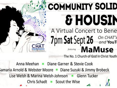Online benefit concert Saturday Sept. 26th!