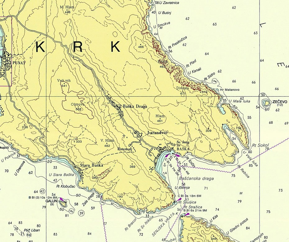 Baška map, Krk map, krk bike, krk biking