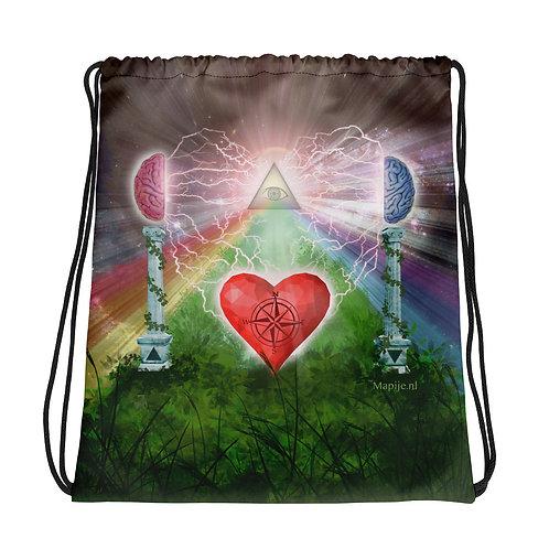 heart mind awareness Drawstring bag