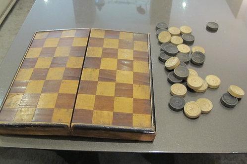 Juego de damas y ajedrez plegable S.XIX
