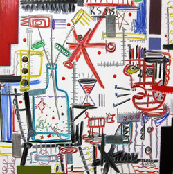 2008 Xp white serise  _play a fishbowl_  100x100cm oil on canvas