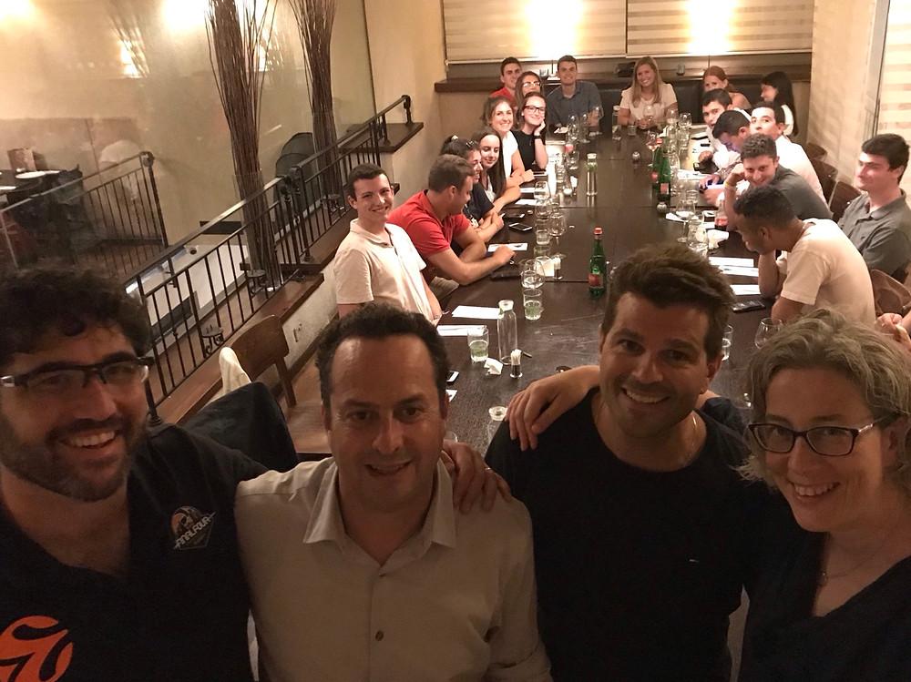 Frankie Sachs, Michael Eglash (organizer), Oren Ben-Ami, Viva Press at a Tamid event in Tel Aviv. July 2019.