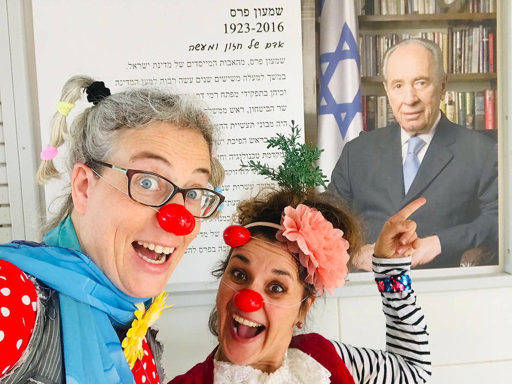 Clowns Oshi and Leepa at a school in Israel. December 2018
