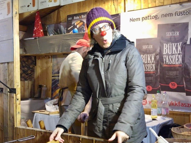 """Eating Kürtőskalács is one thing. Oshi got to """"make"""" them at the Christmas Market in Budapest."""