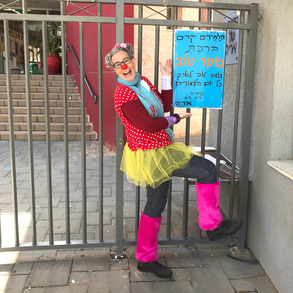 Oshi the clown at the Peres elementary school in Israel.