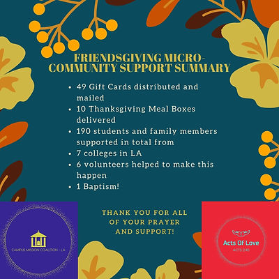 Friendsgiving MicroCommunity Support Sum