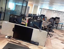 Bank of PCs cleaned in situ by our IT cleaning team