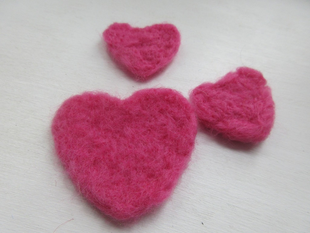 Needle felted heart at Made In Molesey craft club at St Mary's Church East Molesey