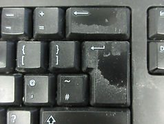Outrageously dirty keyboard before Techclean has cleaned it
