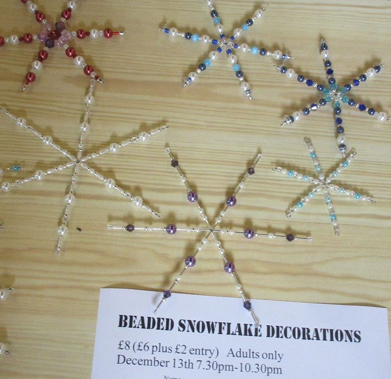 Beaded snowflake community craft workshop at local church