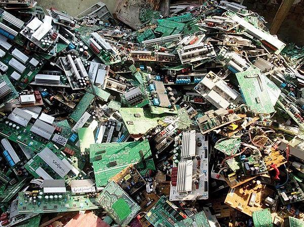 Pile of ewaste and hardboards