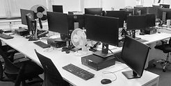 Hygiene in offices from techclean. Bank of computers cleaned by Techclean London and Surrey
