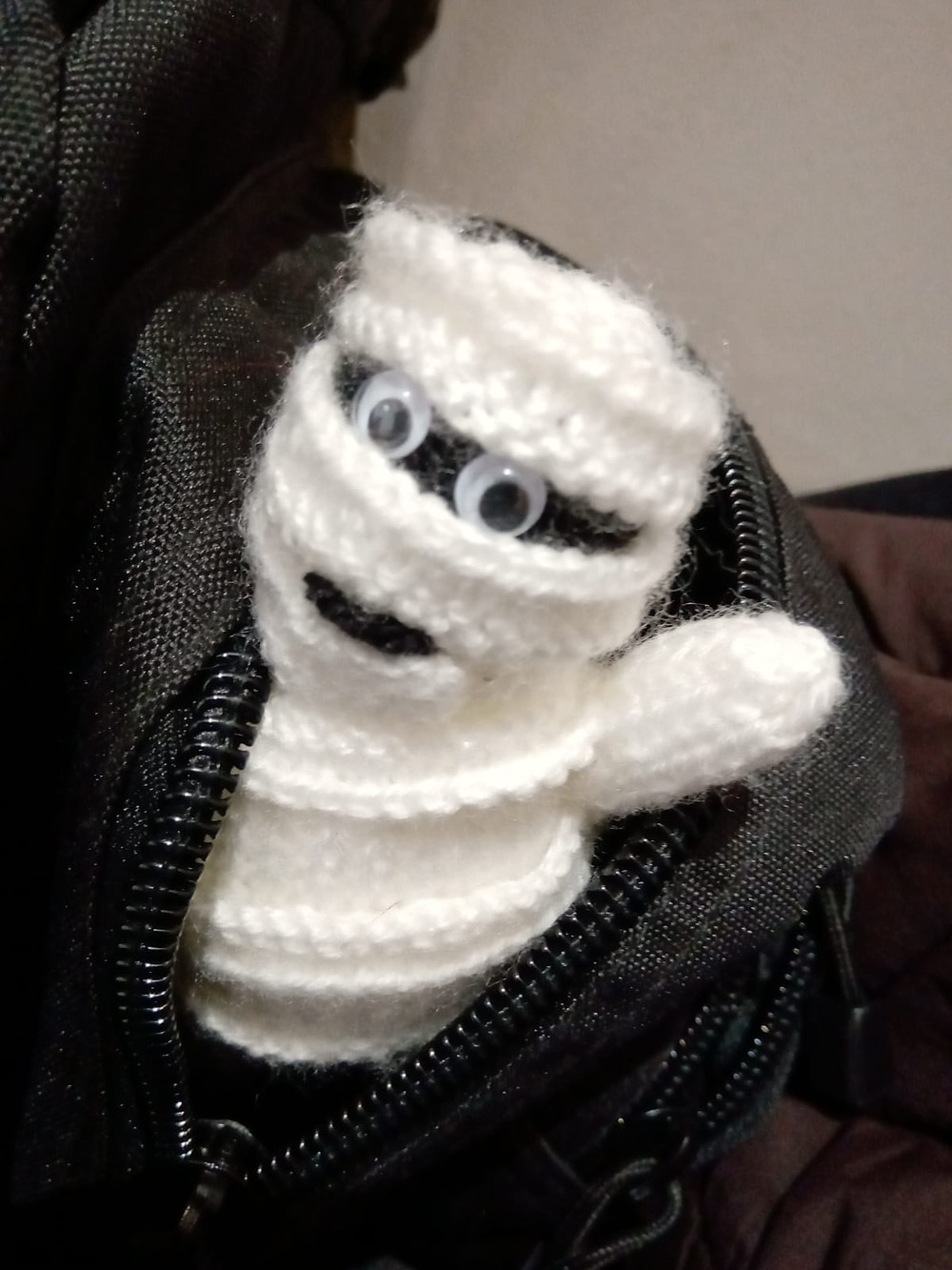 Crochet mummy at Craftaway event at St Mary's Church
