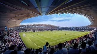 La construction du premier stade de foot intégralement en bois
