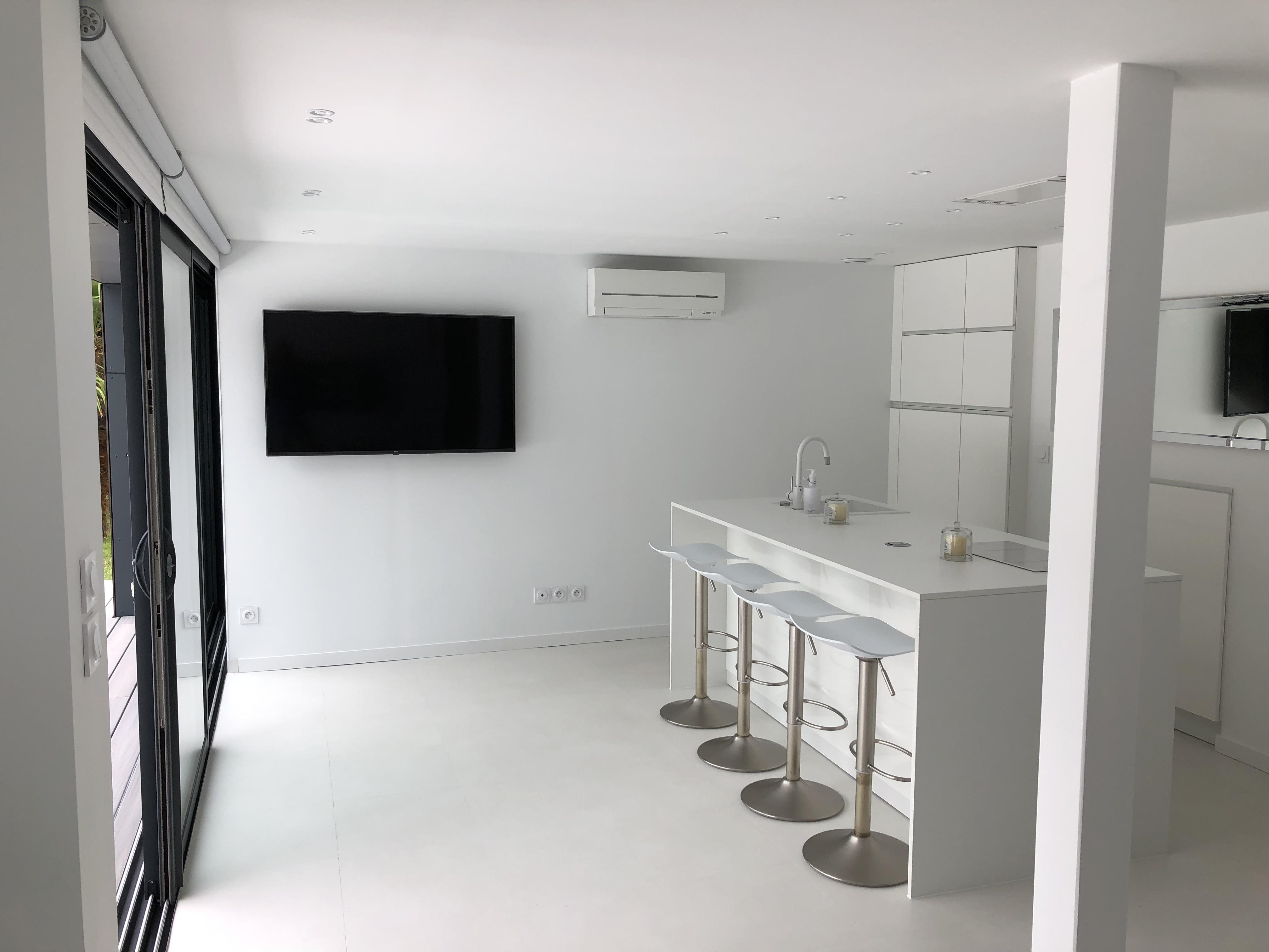 Salon et cuisine d'une extension