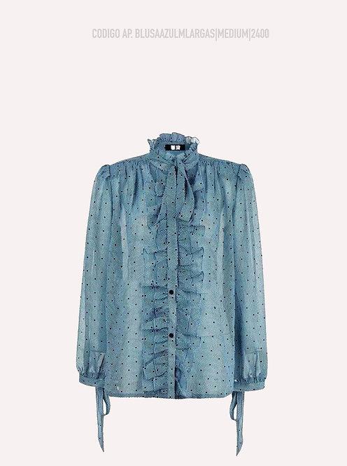 Blusa Azul Fruncida