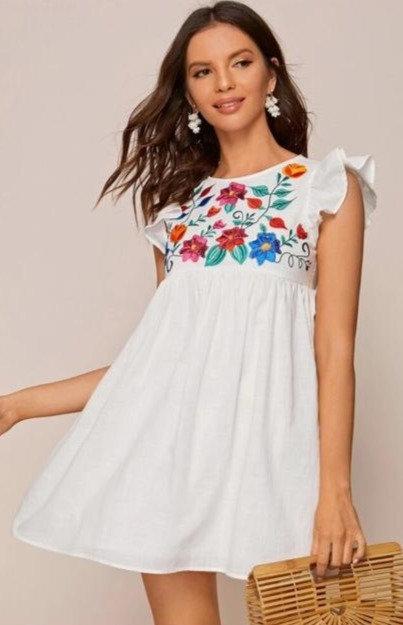 Mini vestido Blanco flores
