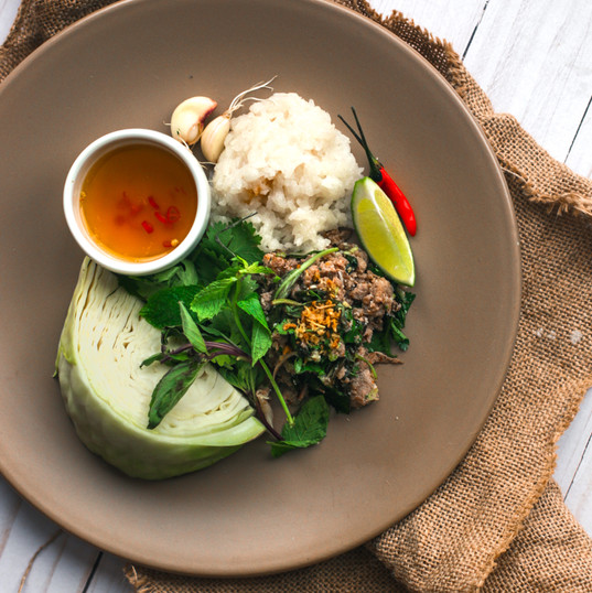 Thai Larb Sticky Rice.JPG