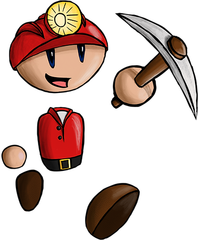 Michael Miner, the protagonist of Lost Caves, who has found himself trapped underground!