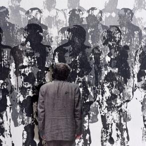 Nostalgia de la mirada I, 2014   Collage y acrílico sobre papel   71,5 x 51,5 cm.