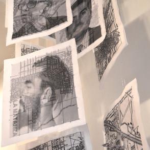 Cicatrices Urbanas, 2015   20 piezas textiles sublimadas y cosidas con sutura oftalmológica   180 x 40 x 40 cm.