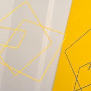 Geometría de lo incierto       ( Amarillo ), 2019   Hierro y acrílico sobre MDF   100 x 80 x 70 cm.