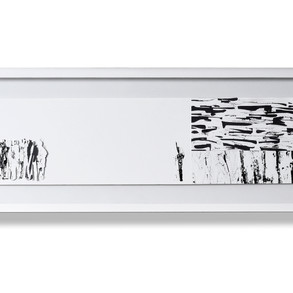 Anónimus, 2018   Collage con tinta   28,5 x 87 cm.