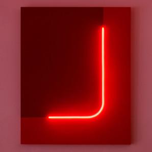 Discromatopsias (rojo) | 2021 |Pintura acrílica sobre MDF , corte láser y manguera flexible LED 220 v | 100 x 80 x 4 cm.