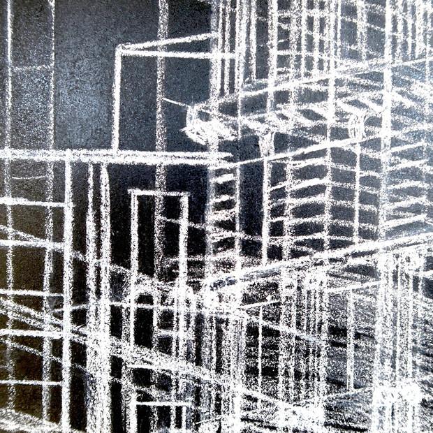 Laberinto Urbano, 2017 | Tiza pastel y lápiz sobre Mdf | 100 x 100 cm.