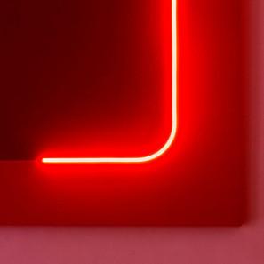 Discromatopsias (rojo) | 2021 | Pintura acrílica sobre MDF, corte láser y manguera flexible LED de 220v | 100 x 80 x 4 cm.