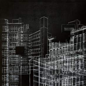 Laberinto Urbano, 2018 | Tiza pastel y lápiz sobre MDF | 100 x 100 cm.