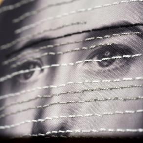 La costura del nombre,2019   Collage de fotos bordadas   140 x 200 cm.