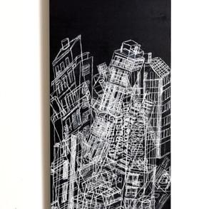 Caóticus, 2017 | Tiza pastel y lápiz sobre MDF | 100 x 40 cm.
