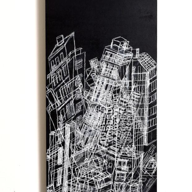 Caóticus, 2015 | Tiza pastel y lápiz sobre Mdf | 100 x 40 cm.