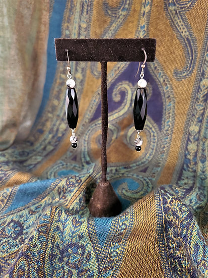 Faceted Onyx & Tourmalited Quartz Earrings