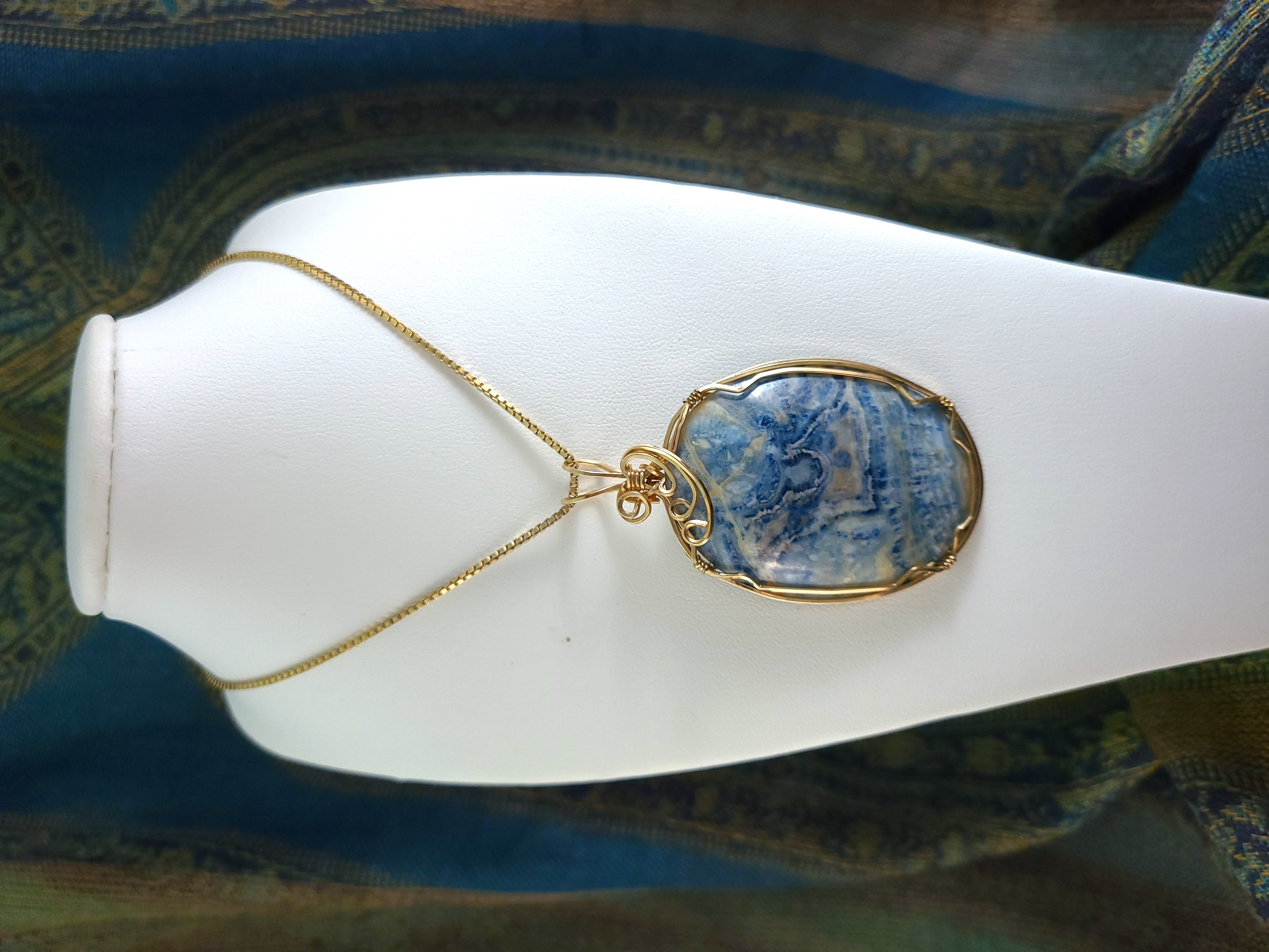 Wrapped Blue Stone Necklace