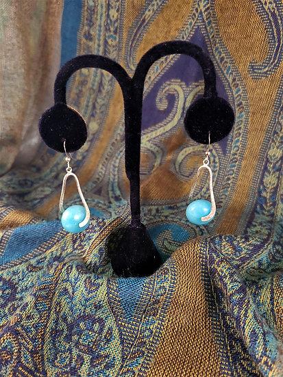 Silver Swirl Blue Stone Earrings